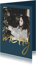 Kerstkaart met gouden 'merry' en een foto