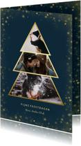 Kerstkaart met goudlook fotokerstboom en gouden kader