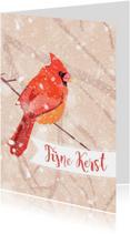 Kerstkaarten - Kerstkaart met Kardinaal vogel