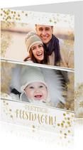 Kerstkaarten - Kerstkaart met veel goudaccenten en 2 foto's