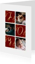 Kerstkaart rechthoekig JOY met vakjes en foto's