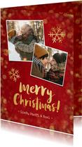 Kerstkaarten - Kerstkaart rood met gouden confetti en foto's