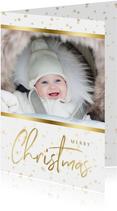 Kerstkaart sterren met gouden accent en foto