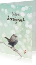 Kerstkaarten - Kerstkaart Winterkoninkje op tak
