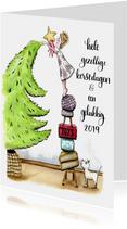 Kerstkaarten Kaat en Odey met kerstboom
