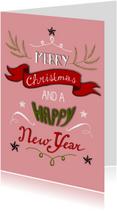 Kerstkaarten - Kerstwens handgeschreven op roze