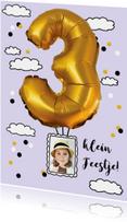 Kinderfeestje 3 jaar ballon goud voor jongen of meisje