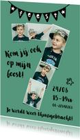 Kinderfeestjes - Kinderfeestje 7 jaar fotokaart voor jongen of meisje