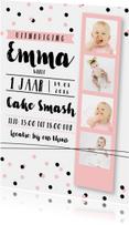Kinderfeestje fotostrip cake smash roze