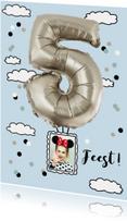 Kinderfeestje luchtballon 5 jaar zilverkleurig