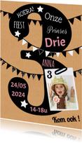 Kinderfeestje uitnodiging 3 jaar karton
