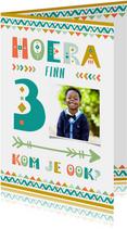 Kinderfeestje uitnodiging 3 jaar tribal stijl jongen