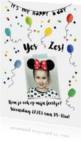 Kinderfeestjes - Kinderfeestje uitnodiging vrolijke ballonnen en confetti