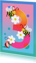 Verjaardagskaarten - kinderkaart Hoera 3 jaar