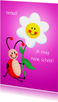 Kinderkaarten - Kinderkaart naar school - roze