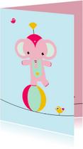 Kinderkaart - Olifantje koorddansen