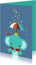 Kinderkaart - Olifantje met paraplu en sterren