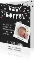 Kraamfeest babyborrel slinger fotokaart confetti