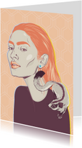 Kunstkaarten - Kunstkaart van een vrouw met vliegende eekhoorn