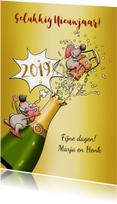 Leuke nieuwjaarskaart met 2 muizen en champagne