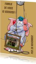Leuke verhuiskaart met olifant en foto van het nieuwe huis