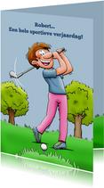 Leuke verjaardagskaart met man die golf speelt