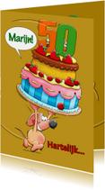 Leuke verjaardagskaart met  muisje en grote taart