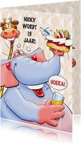 Leuke verjaardagskaart olifant met taart en limonade tiener