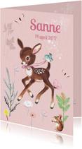 Lief geboortekaartje HERTJE Roze