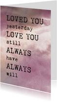 Liefdeskaart gedicht roze wolken