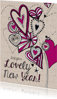Lovely New Year with hearts