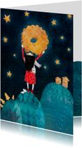 magisch kerstkaartje met een koekjes maan