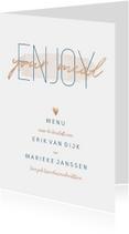 Menukaart 'Enjoy your meal' met goudlook en waterverf