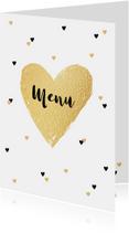 Menukaart trouwen goud en zwarte hartjes