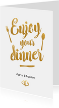 Menukaart trouwen met gouden letters - enjoy your dinner!