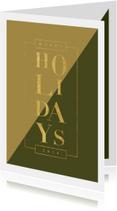 Moderne kerstkaart met vlakken en goudlook tekst