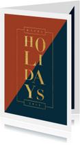 Moderne kerstkaart met vlakken en goudlook typografie