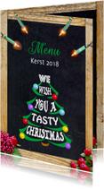 Mooie menukaart met kerstboom gevormd met woorden