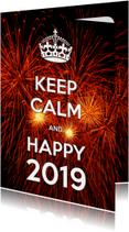 Nieuwjaarskaart Keep Calm and Happy 2019