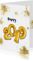 Nieuwjaarskaarten - Nieuwjaarskaart 2019 goudspetters en ballonnen