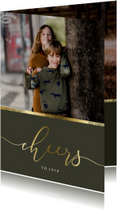 Nieuwjaarskaart gouden accent en 'cheers' met foto
