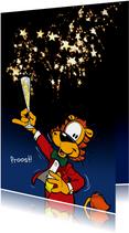 Nieuwjaarskaarten - Nieuwjaarskaart Loeki proost Champagne