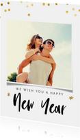 Nieuwjaarskaart met gouden confetti en foto