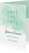 Trouwkaarten - Origineel Save the Date kaart waterverf mint
