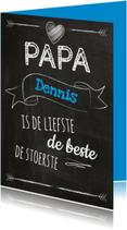 Papa eigen naam op schoolbord