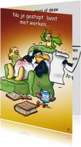 Felicitatiekaarten - Pinguins pensioen in ligstoel