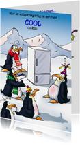 Verjaardagskaarten - penguins verjaardag 2 met koelkast