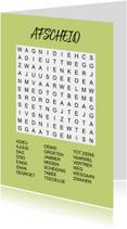 Bedankkaartjes - Puzzelkaartje met woordzoeker Afscheid