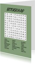 Beterschapskaarten - Puzzelkaartje met woordzoeker Beterschap