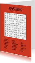 Puzzelkaartje met woordzoeker Kerstmis